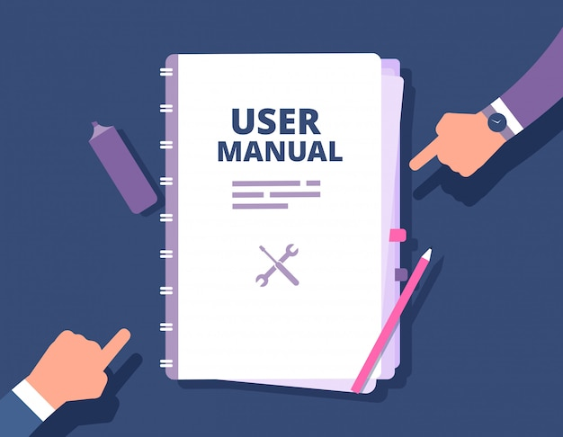 User manual, reference with people hands.