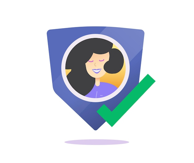 User profile success privacy protection or authentication shield icon flat concept