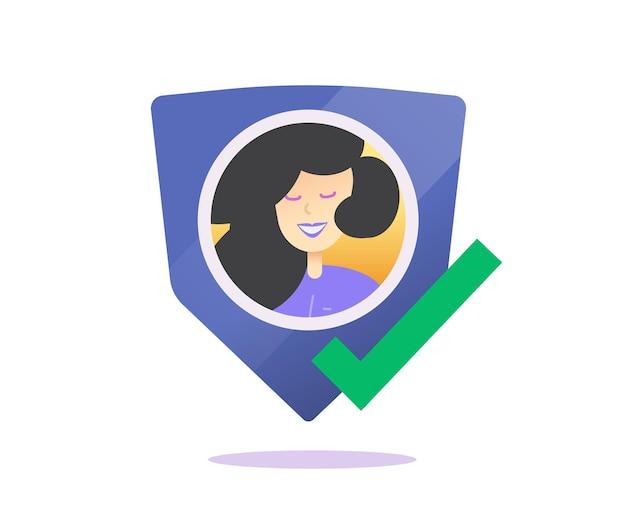 ユーザープロファイルの成功プライバシー保護または認証シールドアイコンフラットコンセプト