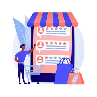사용자 평가 및 피드백. 고객 리뷰 만화 웹 아이콘. 전자 상거래, 온라인 쇼핑, 인터넷 구매. 신뢰 지표, 최고 등급 제품.