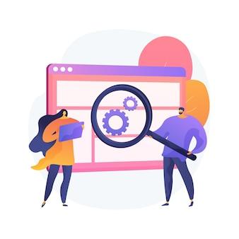 사용자 연구 추상 개념 그림입니다. 디자인 프로젝트, 온라인 설문 조사, 보고서 및 분석, 사용자 경험, 데이터 및 피드백, 디자인 에이전시, 포커스 그룹, 테스트