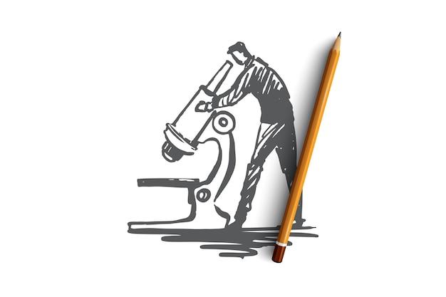 Исследование пользователей, увеличение, исследование, инструмент, концепция проверки. нарисованный рукой эскиз концепции исследователя и микроскопа.
