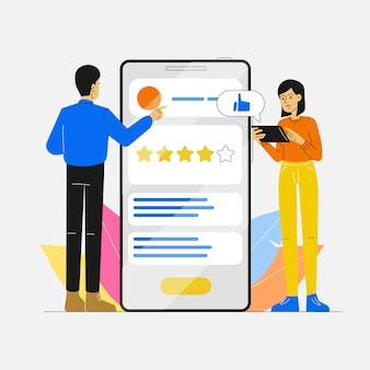 User review and rating with mobile phone app for customer satisfaction