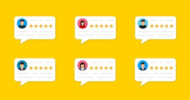 ユーザーレビューとフィードバックの概念。オンラインでのユーザーレビュー