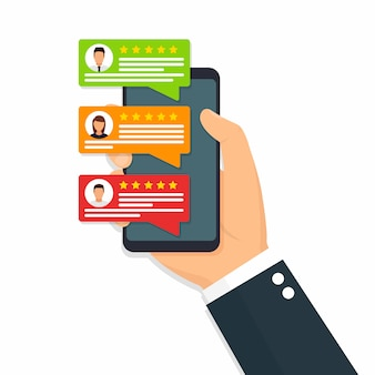 User reviews flat icon or feedback. flat icon style illustration