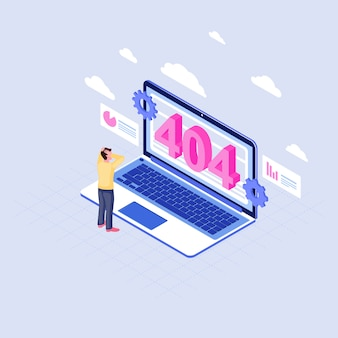 User shocked at 404 problem isometric illustration. man watching page not found message on laptop display cartoon character. client cloud service not available. internet webpage disconnected