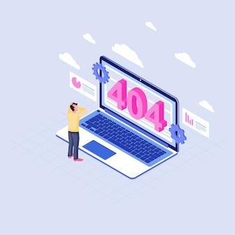 Пользователь шокирован на 404 проблемы изометрической иллюстрации. человек, наблюдая страницу не найдено сообщение на ноутбуке дисплей мультипликационный персонаж клиентский облачный сервис недоступен. интернет-страница отключена