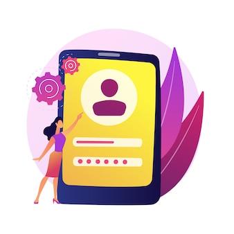 ユーザーの確認。不正アクセス防止、プライベートアカウント認証、サイバーセキュリティ。ログインとパスワードを入力する人、安全対策。
