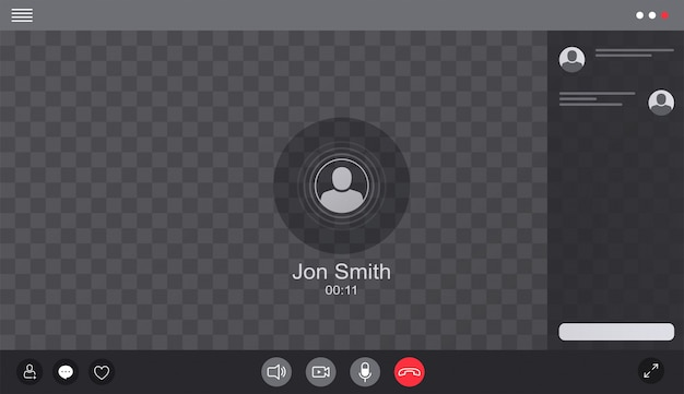 User web video call window chat interface.