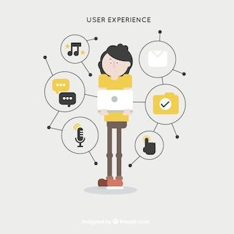 기하학적 웹 경험 아이콘이있는 사용자