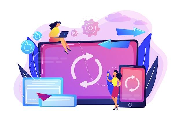 ノートパソコンとスマートフォンを同期しているユーザー。クロスデバイス同期、クロスデバイス同期、および白い背景の操作コンセプト。明るく鮮やかな紫の孤立したイラスト