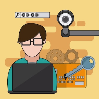 User with security system elements vector illustration graphic design