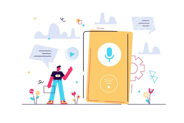 User with voice controlled smart speaker or voice assistant.