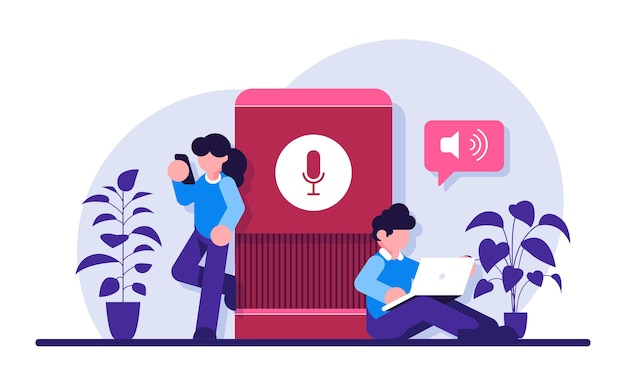 User with voice controlled smart speaker or voice assistant