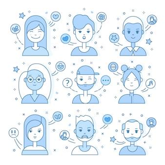 Линейные плоские люди сталкиваются с иллюстрациями. социальный медиа-аватар, userpic и профили.
