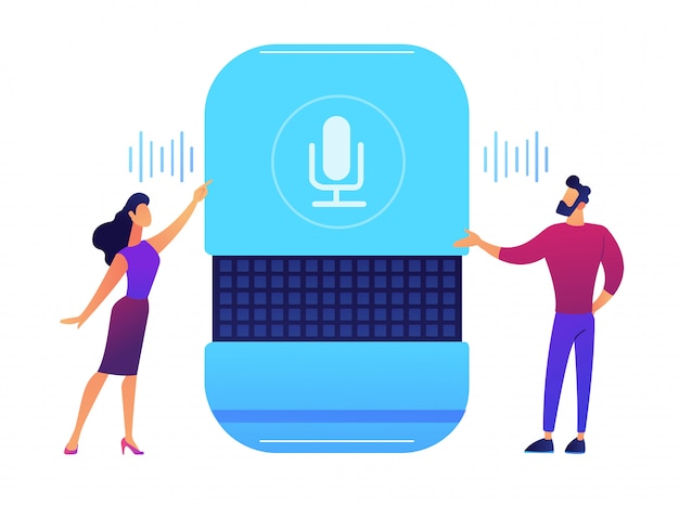 Users giving voice commands to smart speaker vector illustration.