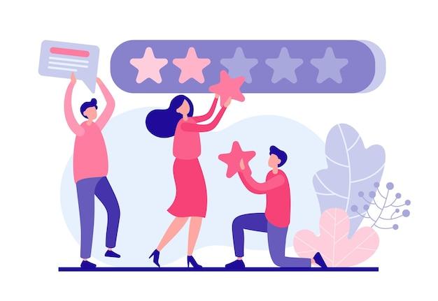 사용자는 앱 온라인 개념을 평가합니다. 남성과 여성 캐릭터가 붉은 색 별 매장 웹 패널을 부착합니다. 평가 품질 서비스 및 지원 및 마케팅 서비스의 긍정적 인 피드백