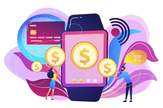スマートウォッチで買い物をしたり非接触型決済を行ったりするユーザー。スマートウォッチの支払い、nfcテクノロジー、白地にnfc支払いのコンセプト。明るく鮮やかな紫の孤立したイラスト