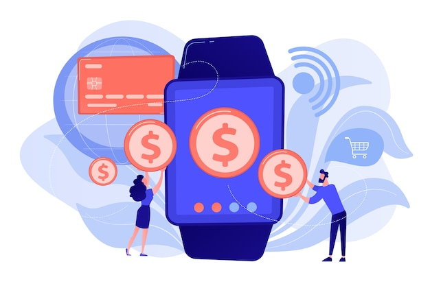 Users shopping and making contactless payment with smartwatch. smartwatch payment, nfc technology and nfc payment concept pinkish coral bluevector isolated illustration