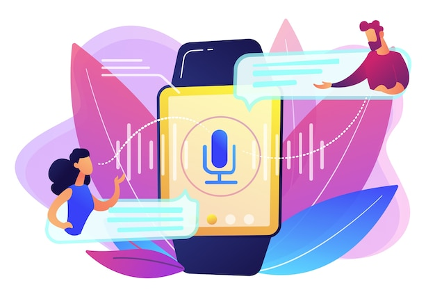 스마트 워치로 음성을 번역하는 사용자. 디지털 번역기, 휴대용 번역기, 흰색 배경에 전자 언어 번역기 개념. 밝고 활기찬 보라색 고립 된 그림