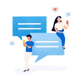 Users with speech bubbles vector