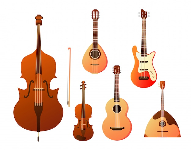 Мusical instruments: balalaika, harp, double bass, violin, guita