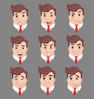 Usinessman many faces emotions characters