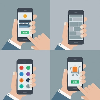 Using a mobile phone illustrations collection