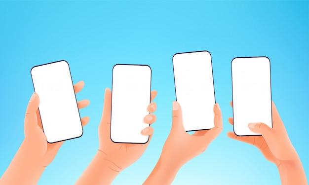 현대적인 스마트 폰 개념을 사용합니다. 현대 스마트 폰 들고 손