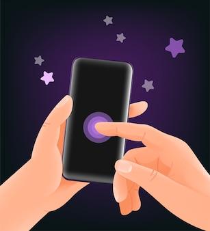 現代のスマートフォンのイラストを使用しています。