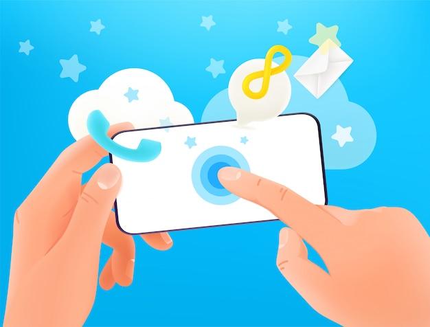 Используя современный смартфон векторный концепт. руки держат современный смартфон и стучат по экрану