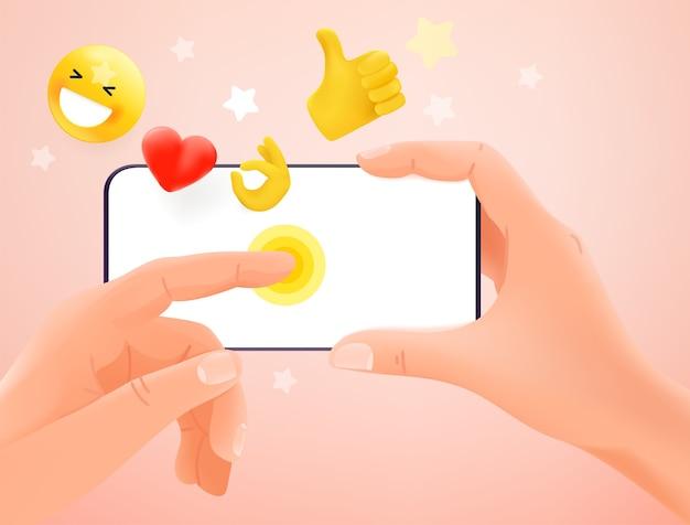 소셜 네트워크 개념을 사용합니다. 현대 스마트 폰을 들고 화면을 두드리는 손 프리미엄 벡터
