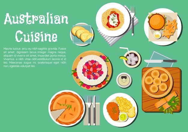 고기 파이를 곁들인 호주 음식, 고구마가 들어간 명란젓 샌드위치, 캥거루 스테이크를 얹은 파스타, 햄버거, 소다 빵 댐퍼, 찐 만두, 파블로바 케이크