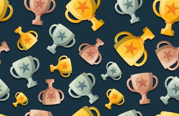 トロフィーカップのシームレスなパターン背景。ビジネスフラット病気。 ustration。賞を受賞したシンボルパターン。金、銀、青銅のカップ