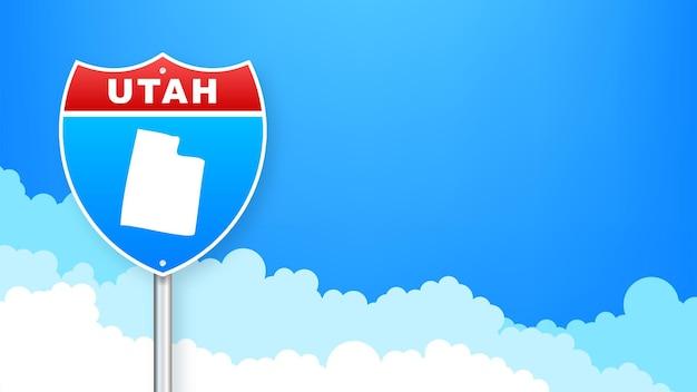 도 표지판에 유타 지도입니다. 유타 주에 오신 것을 환영합니다. 벡터 일러스트 레이 션.