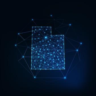ユタ州usaマップ星線ドット三角形、低い多角形で作られた輝くシルエットの輪郭。通信、インターネット技術の概念。ワイヤーフレームの未来