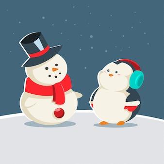 雪だるまとかわいい赤ちゃんペンギン