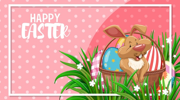Ute bunny and painted eggs, easter greeting card