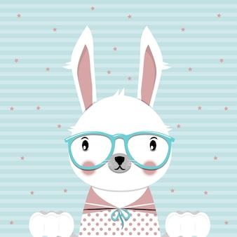 Ute bunny with glasses on blue background flat vector illustration