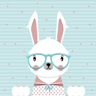 青い背景の上の眼鏡とuteバニーフラットベクトル図