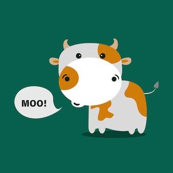 Симпатичные коровы на зеленом бэкграунде. векторные иллюстрации.