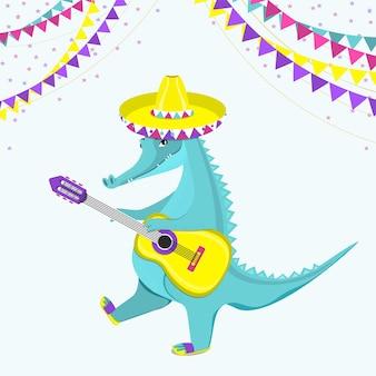 기타를 치는 귀여운 악어. 평면 벡터 일러스트 레이 션.
