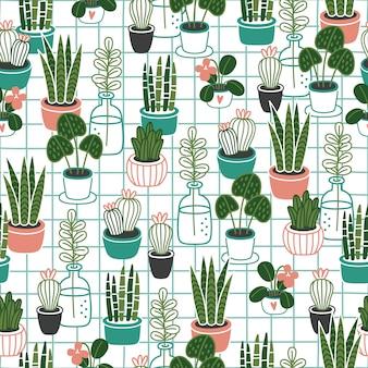 Сute flowerpots seamless pattern