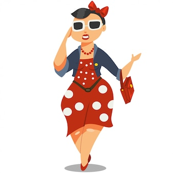 Сute girl in sunglasses and a red dress cartoon character