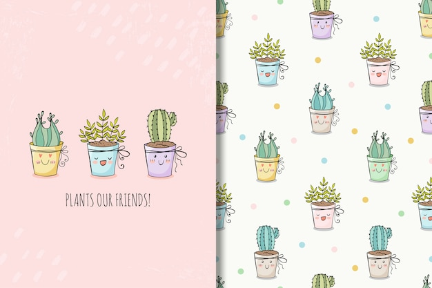 Сute hand drawn house plants card and seamless pattern