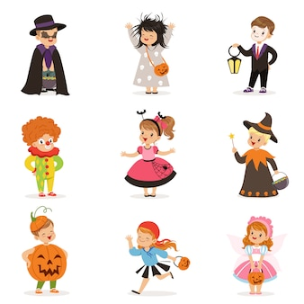 Ute happy little kids in different colorful halloween costumes set, halloween children trick or treating  illustrations on a white background