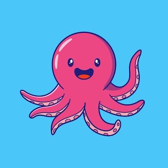 Юте осьминог, махнув рукой иллюстрации. осьминог талисман персонажей из мультфильма животные изолированы.
