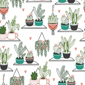 Сute植木鉢のシームレスパターン