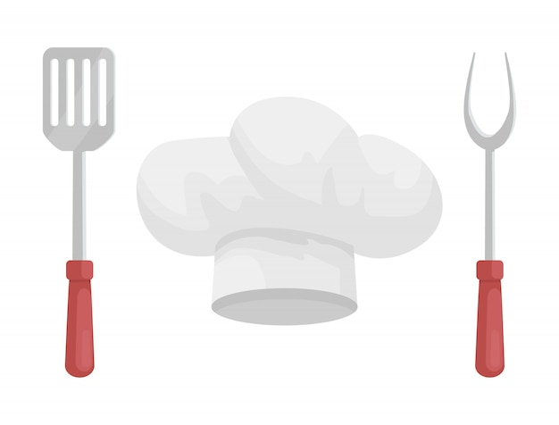 Utensil and hat of chef, cartoon style