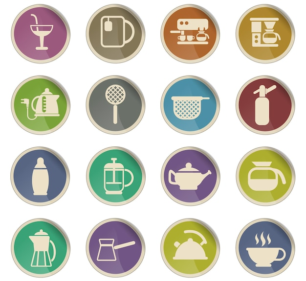 Utensils for beverages vector icons in the form of round paper labels